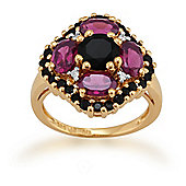 Gemondo Gold Plated Silver 2.12ct Rhodolite, 1.34ct Spinel & 2.4pt Diamond Ring