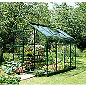 Halls 8x6 Supreme Greenframe Greenhouse + Base - Horticultural Glass
