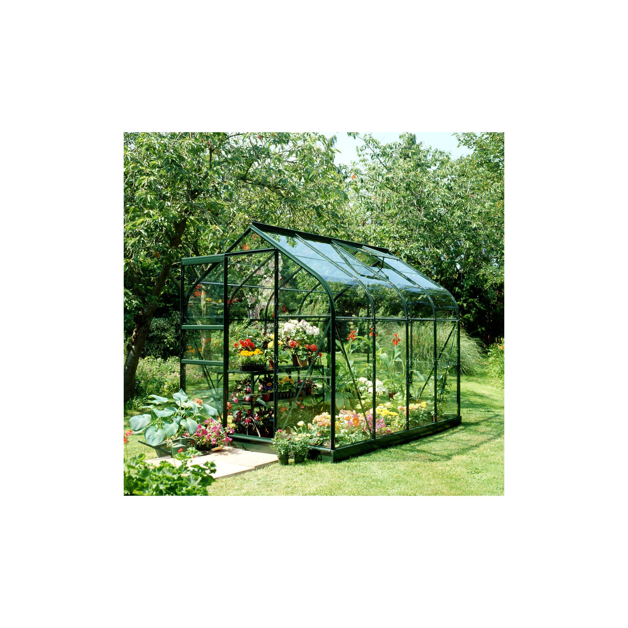 Halls 8x6 Supreme Greenframe Greenhouse + Base - Horticultural Glass at Tesco Direct