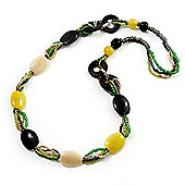 Long Ceramic, Wood & Glass Bead Necklace (Brown, Cream & Olive Green) - 76cm Length