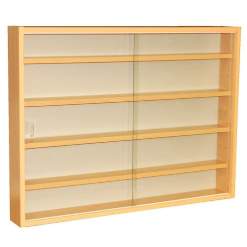 Techstyle 4 Shelf Glass Wall Display Unit - Beech