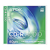 TDK CD-R Audio 80Min Blank Media Discs 5 Pack Case