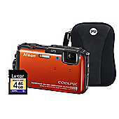 Nikon Coolpix AW110 Orange Camera Kit inc 4GB SD Card and Case