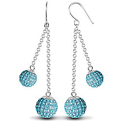 Jewelco London Sterling Silver Crystal 8mm & 10mm Double Disco Drops Shamballa Earrings - Blue