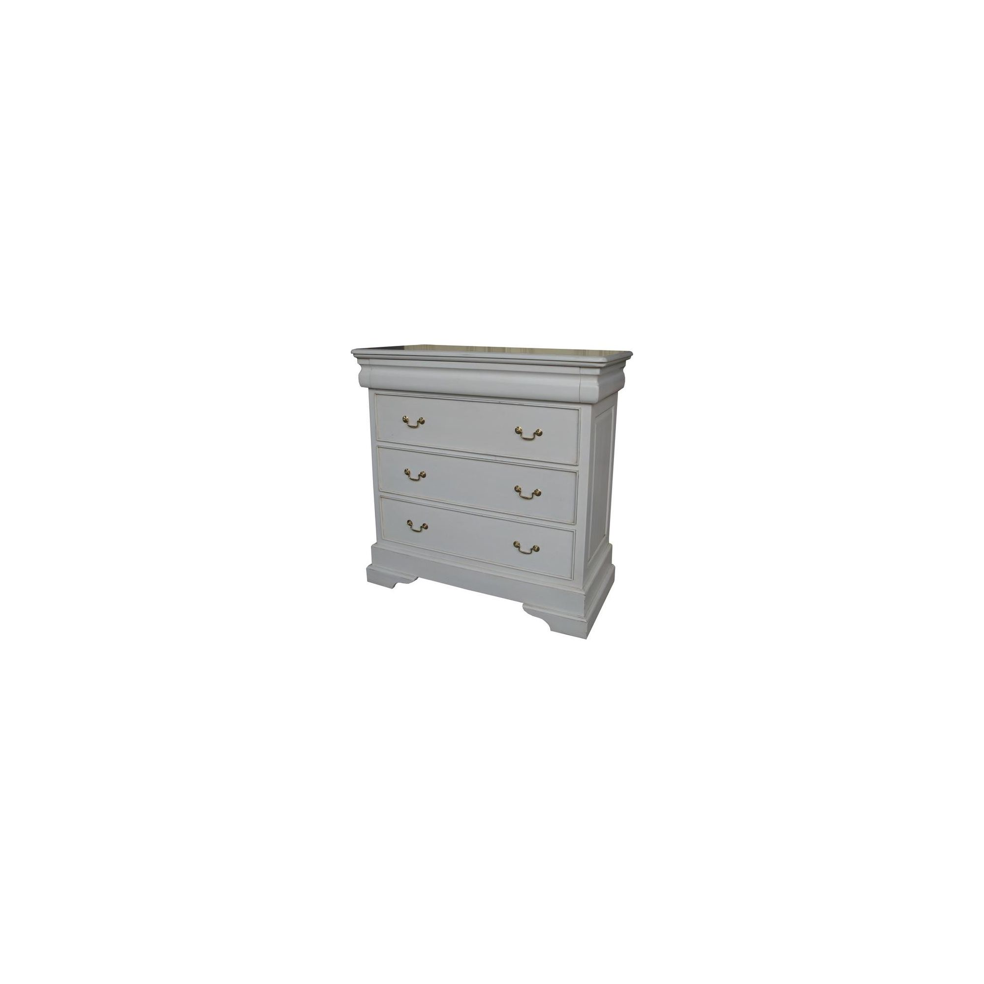 Lock stock and barrel Mahogany 3 Drawer Sleigh Chest - Antique White at Tesco Direct