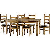 Corona Extending Dining Set (1+6) Distressed Waxed Pine/Expresso Brown PU