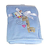 First Steps Supersoft Fleece Baby Blanket Blue Giraffe 75x100cm