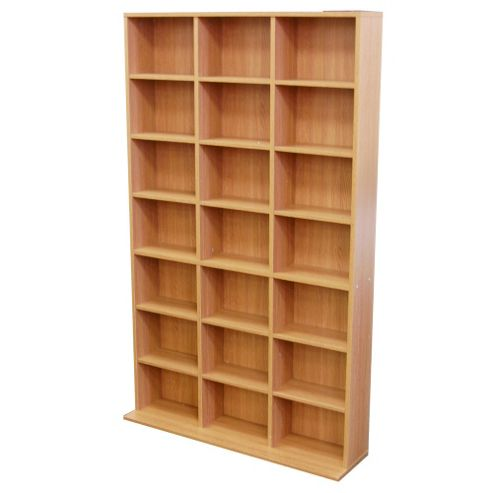 Techstyle 21 Cubby 588 CD / 378 DVD Media Storage Unit - Oak