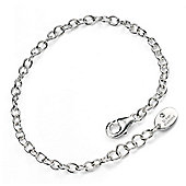 D for Diamond Silver Diamond Plain Chain Bracelet