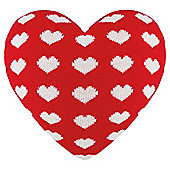 Heart Shaped Knitted Cushion, Red