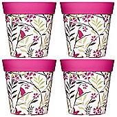 4 x 22cm Pink Birds & Branches Plastic Garden Planter 5L Flowerpot by Hum