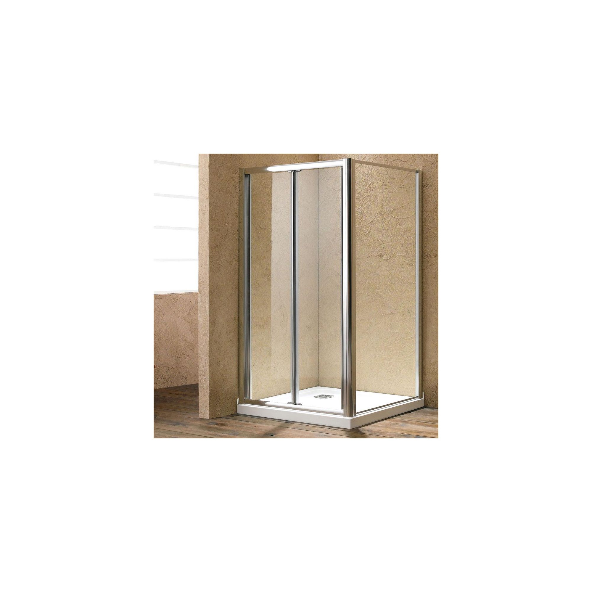 Duchy Style Twin Bi-Fold Door Shower Enclosure, 1100mm x 760mm, 6mm Glass, Low Profile Tray at Tesco Direct