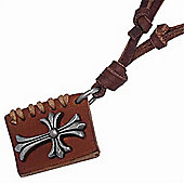 Urban Male Men's Adjustable Brown Leather Necklace Book With Cross Design