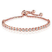 Jewel and Gem Rose gold plated sterling silver adjustable tennis bracelet with cubic zirconia stones