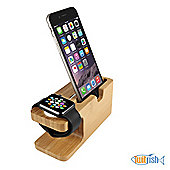 Twitfish® - Elegant Wood Stand For Charging Apple Watch (Compatible with ALL Sizes and Models) and iPhone 6 / 6 Plus with Cable Groove and Holes