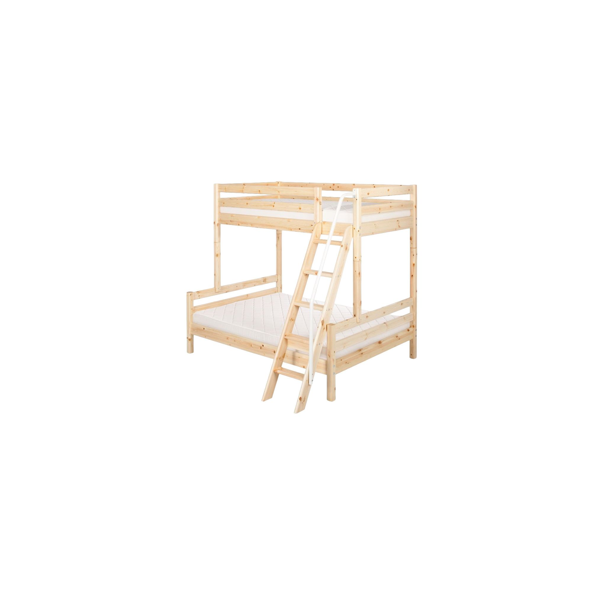 Flexa Classic Bunk Bed with Classic Double Bed and Slanting Ladder at Tesco Direct