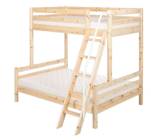 Flexa Flexa Classic Bunk Bed with Classic Double Bed and Slanting Ladder