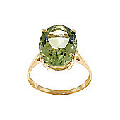 QP Jewellers 7.55ct Green Amethyst Valiant Ring in 14K Gold