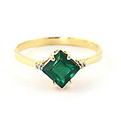 QP Jewellers Diamond & Emerald Princess Ring in 14K Gold