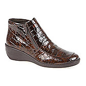 Fly Flot Croc Effect Ankle Boot - Brown