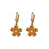 QP Jewellers Diamond & Citrine Flower Leverback Earrings in 14K Gold