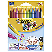 Bic Kids Plastidecor Crayons, 12 Pack