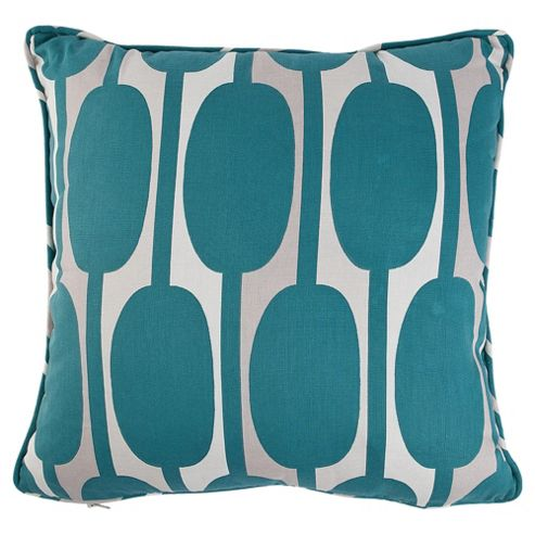Tesco Cushions Retro Print Cushion, Teal