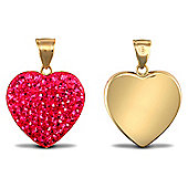 "Jewelco London Valentine's Day 9ct Fuchsia Hot Pink Crystal-set Heart Pendant Necklace w/ 18"" Chain"