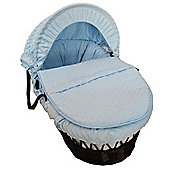 Cuddles Collection Dark Wicker Moses Basket (Dimple Blue)