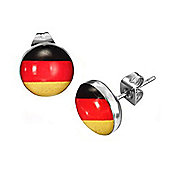 Urban Male Men's Stainless Steel Flag Of Germany Stud Earrings 10mm