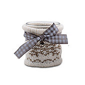 Small Glass Christmas Tealight Holder with Brown Knitted Winter Cosy