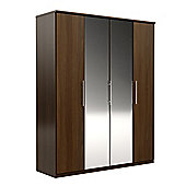 Urbane Designs Prague 4 Door Wardrobe - Walnut