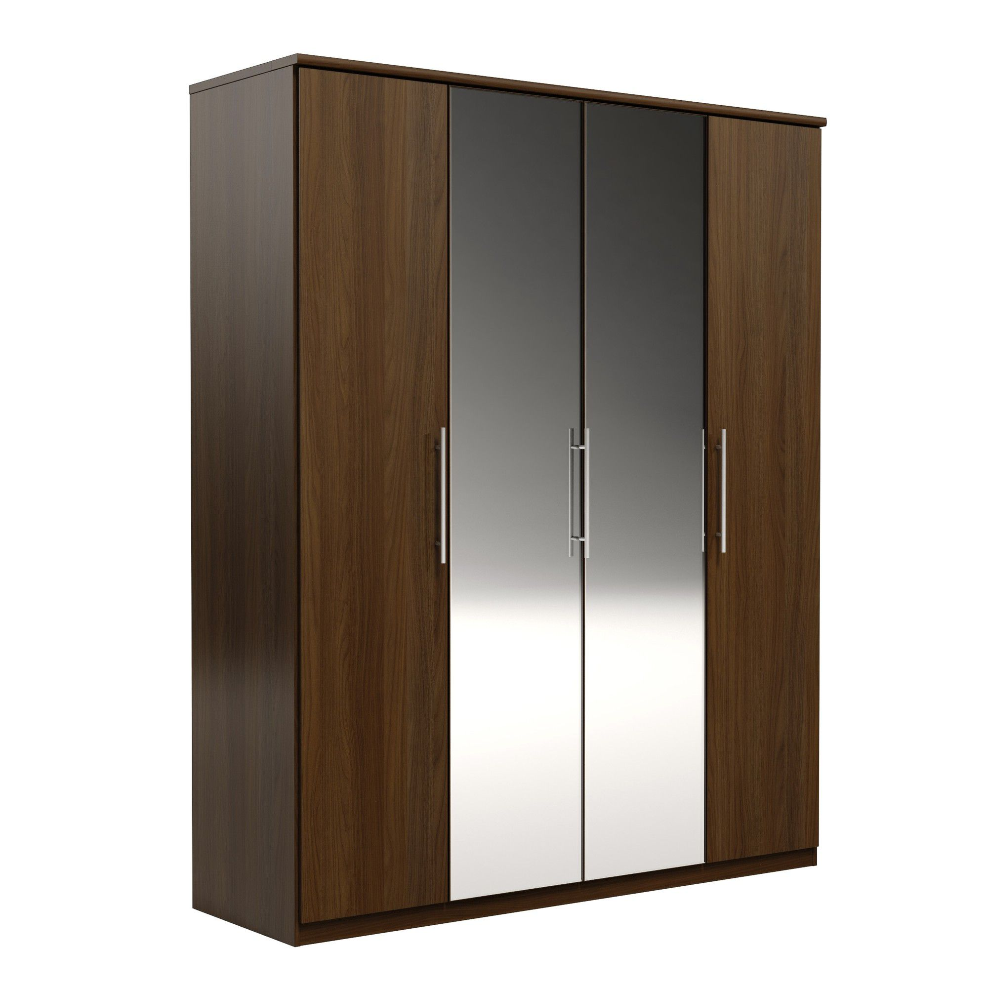 Urbane Designs Prague 4 Door Wardrobe - Walnut at Tesco Direct