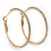 Clear Crystal Classic Hoop Earrings In Gold Plating - 4cm Diameter