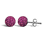Jewelco London Sterling Silver Pink Crystal 8mm hot pink studs Shamballa Earrings