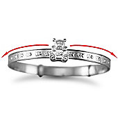 Jewelco London Sterling Silver Embossed baby Bangle with teddy slider Bangle - Children's