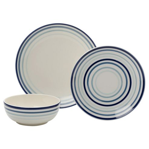 buy tesco painterly stripe 12 piece dinner set blue from. Black Bedroom Furniture Sets. Home Design Ideas