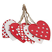 Set Of 24 Wooden Heart Christmas Tree Decorations