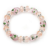 Floral Pink Glass Bead & Crystal Ring Flex Bracelet - Up to 21cm Length