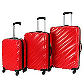 Swiss Case 4 Wheel Spinner Wave 3Pc Strong Abs Suitcase / Luggage Set Red