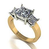 18ct Gold 3 Stone Square Brilliant Moissanite Trilogy Ring
