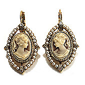 Vintage Cameo Pearl Style Drop Earrings (Burn Gold)