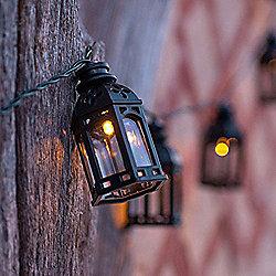 16 Black Moroccan Lantern Solar LED Fairy Lights