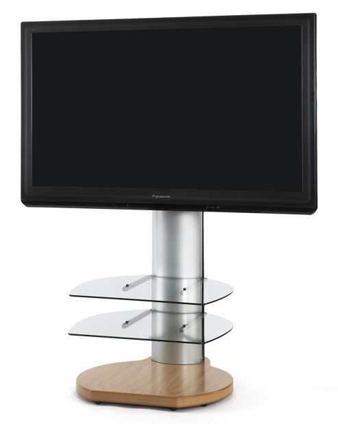 Off The Wall Origin II TV Stand - Oak base / Silver sides / Clear glass