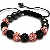 Black and Pink Crystal Unisex Fashion Bracelet SHAMBRAC-65