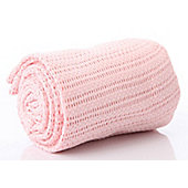 Belledorm Pink Cellular Baby Blanket 100% Cotton 70cm x 100cm