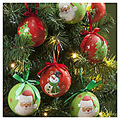 Decoupage Santa and Snowman Christmas Baubles, 14 pack