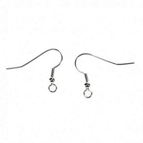 Standard Size Fish Hook Ear Wire - Silver - 20 Pack
