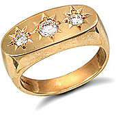 Jewelco London 9ct Solid gold men's CZ set 3 stone trilogy Ring