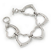 Polished Rhodium Plated Open Heart Bracelet With T-Bar Closure - 16cm Length (For Small Wrists)